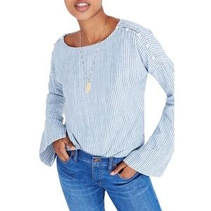 Madewell Convertible Cold Shoulder Chambray Blouse